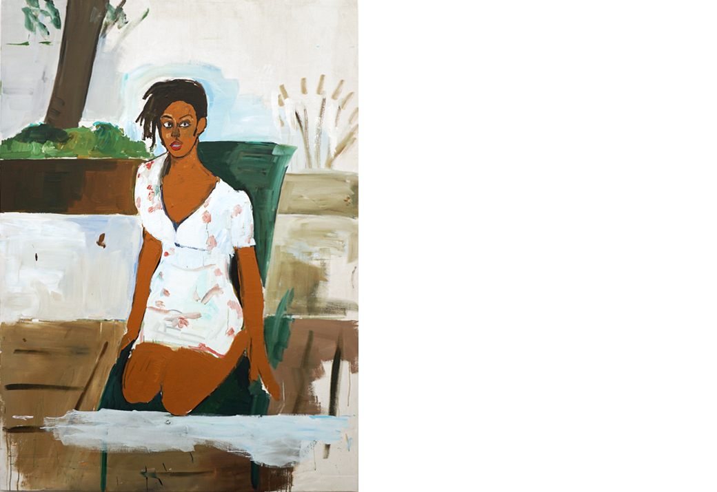 Henry Taylor, Deana Lawson in the Lionel Hamptons, 2016, acrylic on canvas, 243.8x177.8x3.8 cm. On show at Blum & Poe, stand C25.